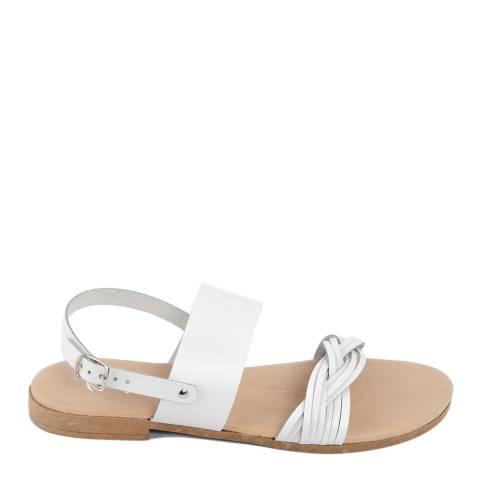 Battini White Leather Double Strap Woven Sandal