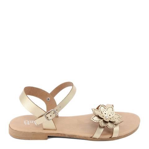 Battini Gold Leather Flower Sandal