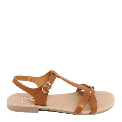 Battini Tan Leather T-Bar Cross Strap Sandal