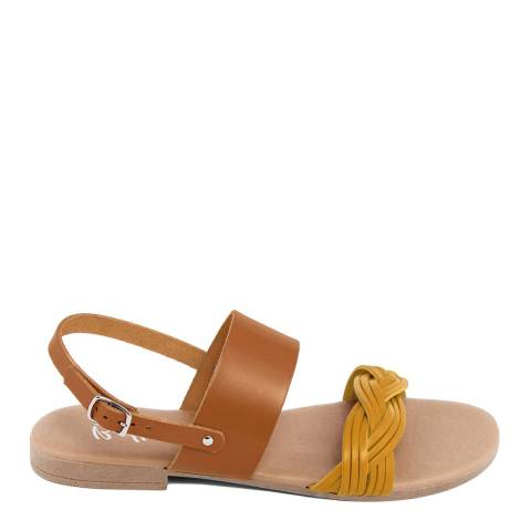 Battini Mustard Leather Double Strap Woven Sandal