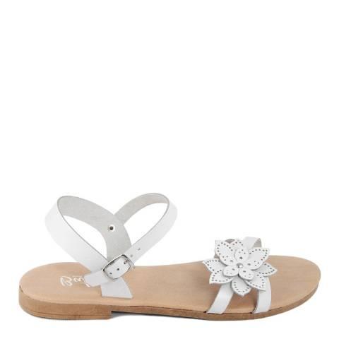Battini White Leather Flower Sandal