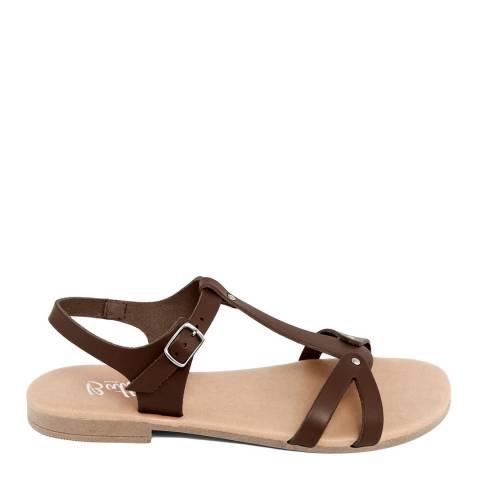 Battini Brown Leather T-Bar Cross Strap Sandal