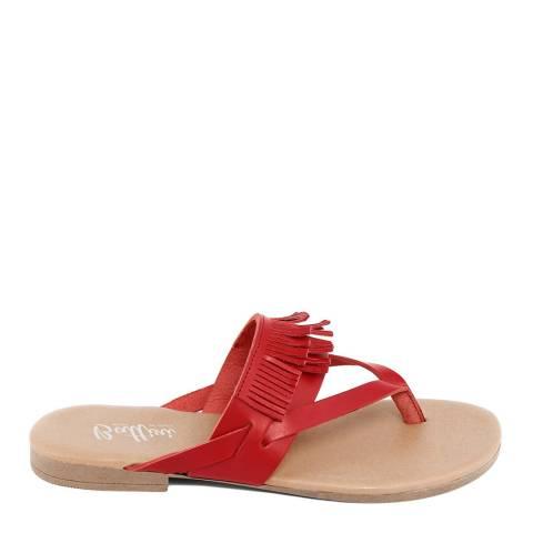 Battini Red Leather Fringe Sandal