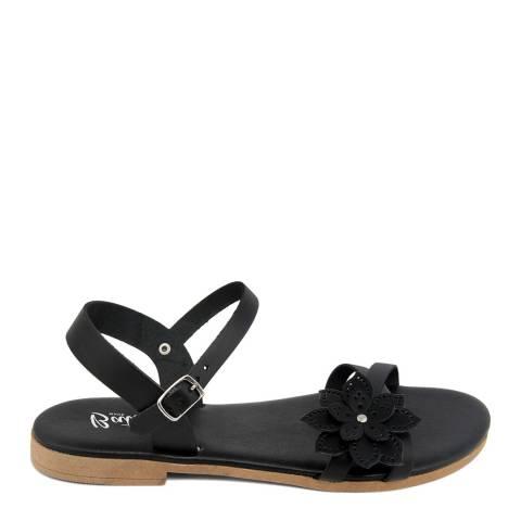 Battini Black Leather Flower Sandal