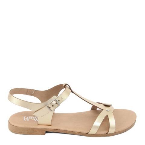 Battini Gold Leather T-Bar Cross Strap Sandal