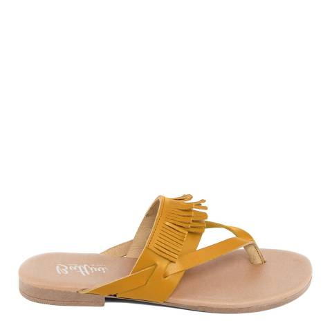 Battini Yellow Leather Fringe Sandal