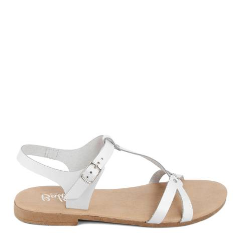 Battini White Leather T-Bar Cross Strap Sandal