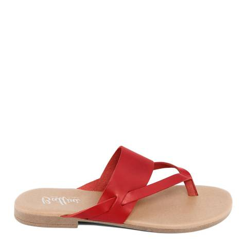 Battini Red Leather Toe Thong Sandal