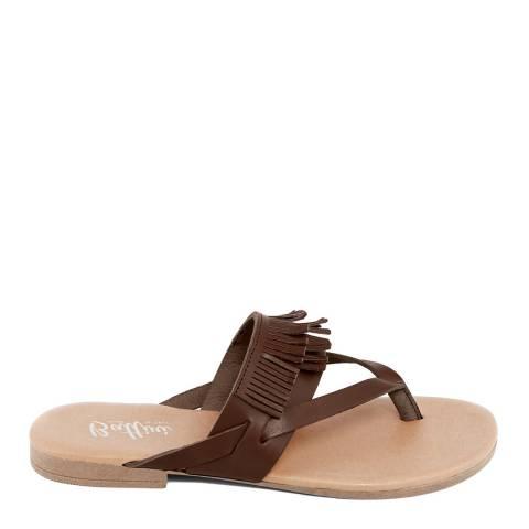 Battini Brown Leather Fringe Sandal