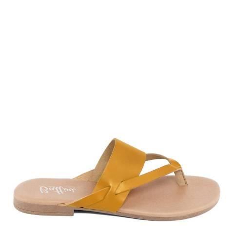 Battini Mustard Leather Toe Thong Sandal