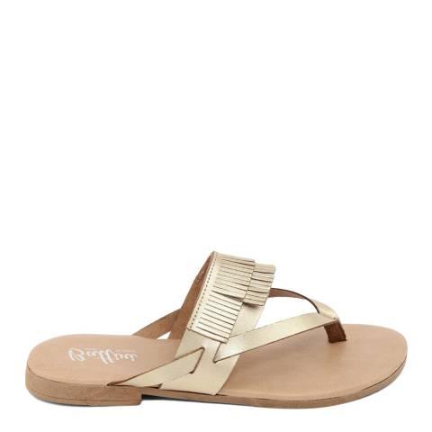 Battini Gold Leather Fringe Sandal