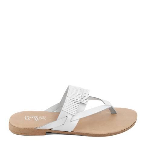 Battini White Leather Fringe Sandal