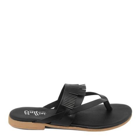 Battini Black Leather Fringe Sandal