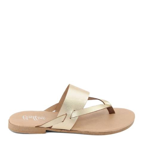Battini Gold Leather Toe Thong Sandal