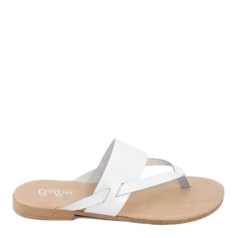 Battini White Leather Toe Thong Sandal