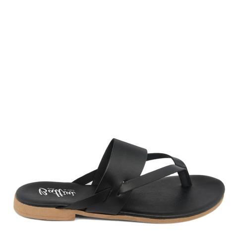 Battini Black Leather Toe Thong Sandal