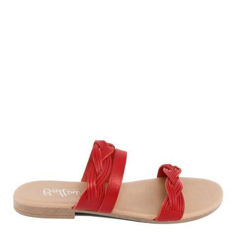 Battini Red Leather Triple Strap Sandal
