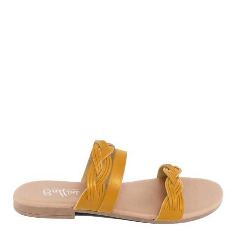 Battini Mustard Leather Triple Strap Sandal
