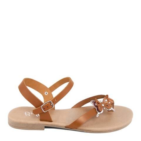 Battini Tan Toe Thong Butterfly Sandal