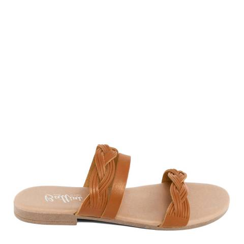 Battini Tan Leather Triple Strap Sandal