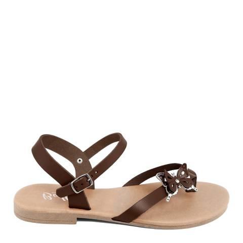 Battini Brown Toe Thong Butterfly Sandal