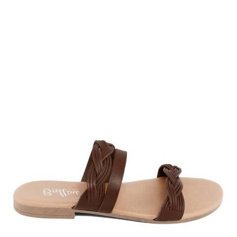Battini Brown Leather Triple Strap Sandal