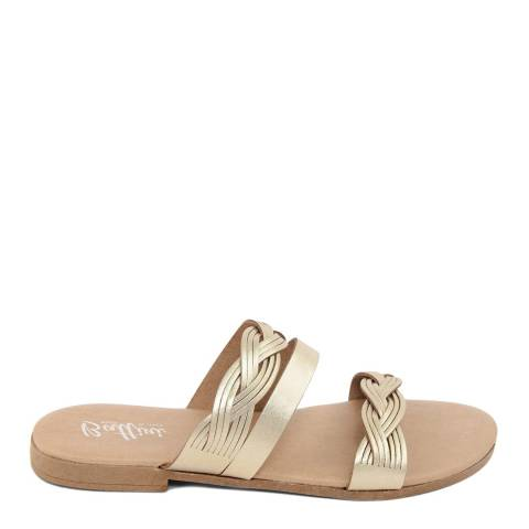 Battini Gold Leather Triple Strap Sandal