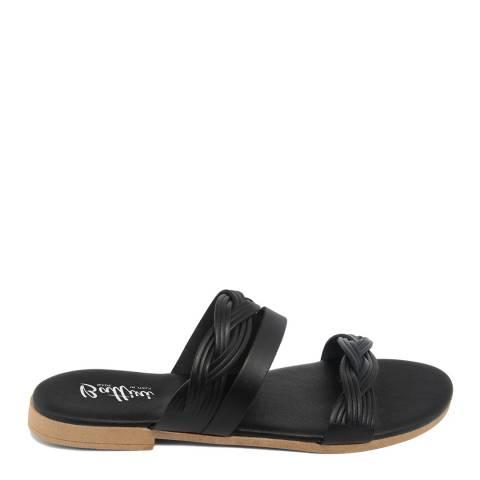 Battini Black Leather Triple Strap Sandal