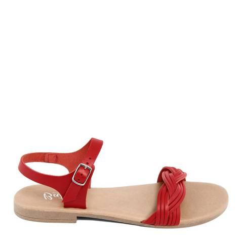 Battini Red Leather Single Strap Sandal