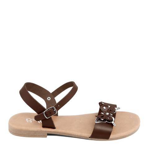 Battini Brown Leather Double Strap Butterfly Sandal