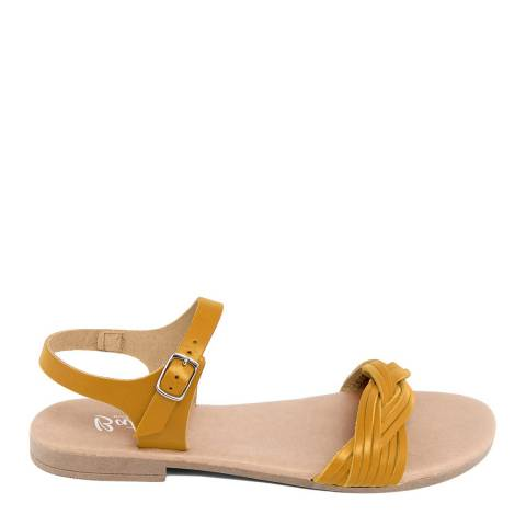 Battini Mustard Leather Single Strap Sandal