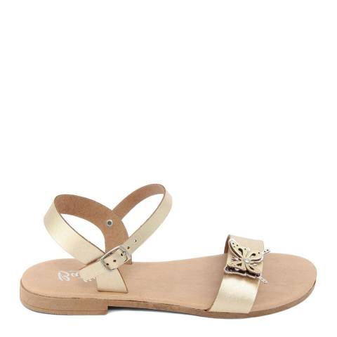 Battini Gold Leather Double Strap Butterfly Sandal