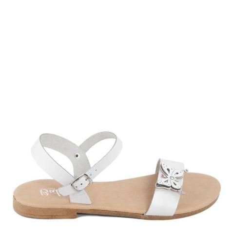 Battini White Leather Double Strap Butterfly Sandal