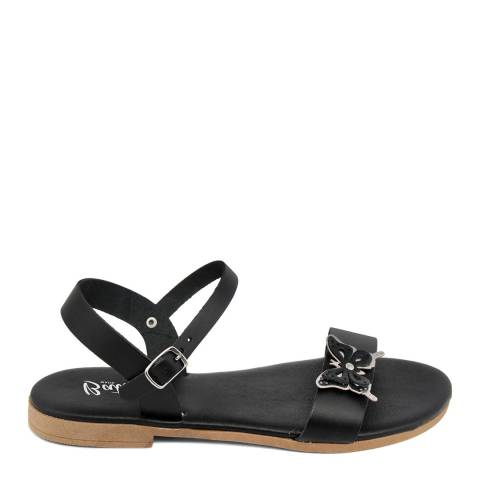 Battini Black Leather Double Strap Butterfly Sandal