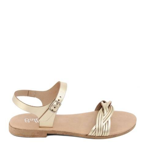 Battini Gold Leather Single Strap Sandal