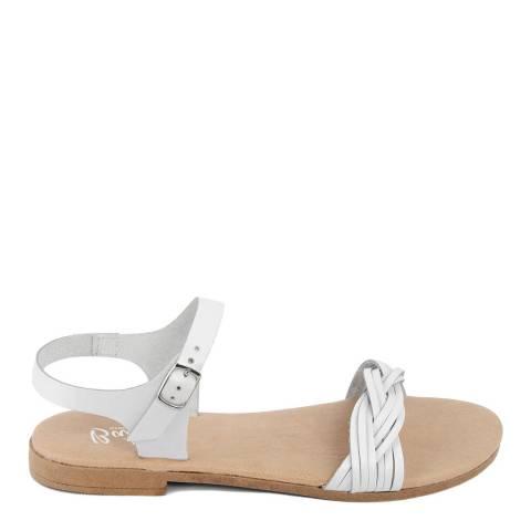 Battini White Leather Single Strap Sandal