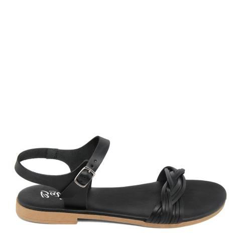 Battini Black Leather Single Strap Sandal