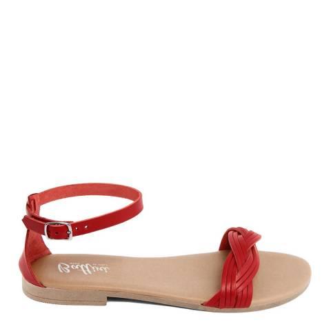 Battini Red Leather Woven Strap Sandal