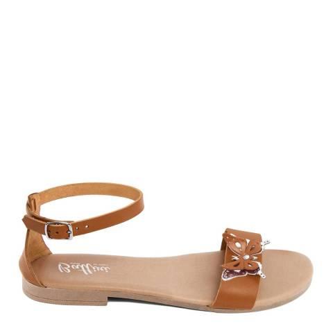 Battini Tan Leather Butterfly Sandal