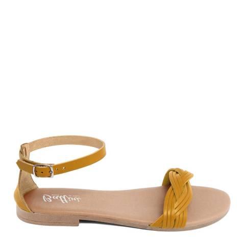 Battini Mustard Leather Woven Strap Sandal
