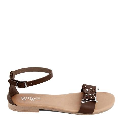 Battini Brown Leather Butterfly Sandal