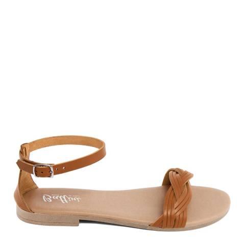 Battini Tan Leather Woven Strap Sandal