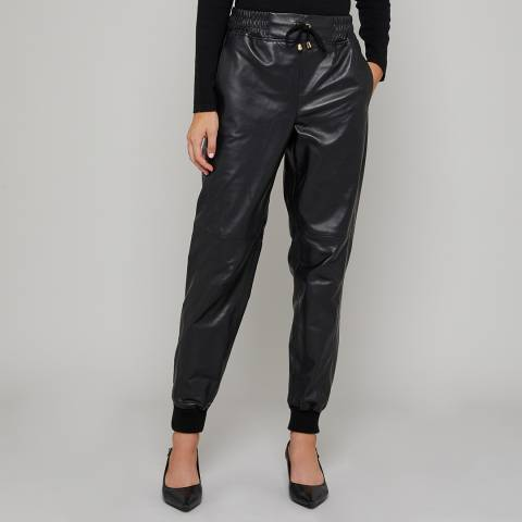 N°· Eleven Black Leather Joggers