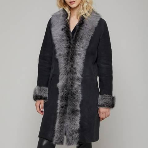 N°· Eleven Black Shearling Waterfall Coat