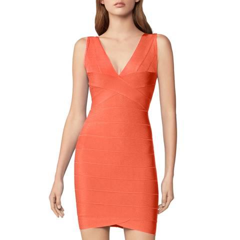 Herve Leger Orange V Neck Mini Bandage Dress