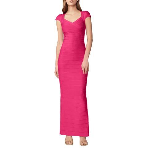 Herve Leger Pink Sweetheart Neck Bandage Dress