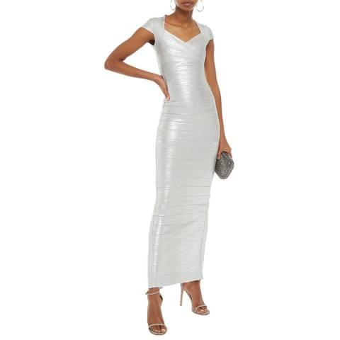 Herve Leger Silver Foil Sweetheart Neck Bandage Dress