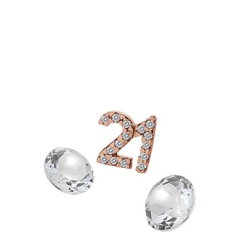 Anais Paris by Hot Diamonds Rose Gold 21 Charm with White Topaz Cabochons