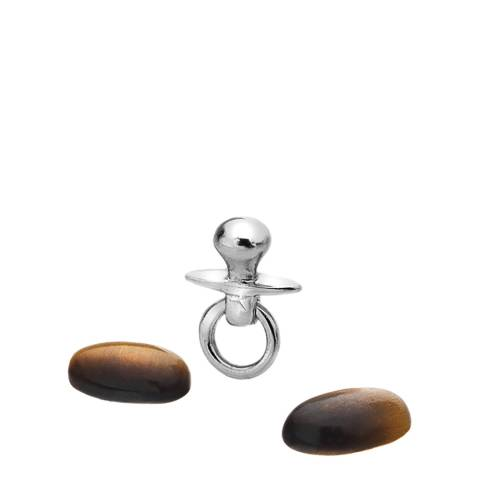 Anais Paris by Hot Diamonds Silver Dummy Charm with Tigers Eye Cabochons