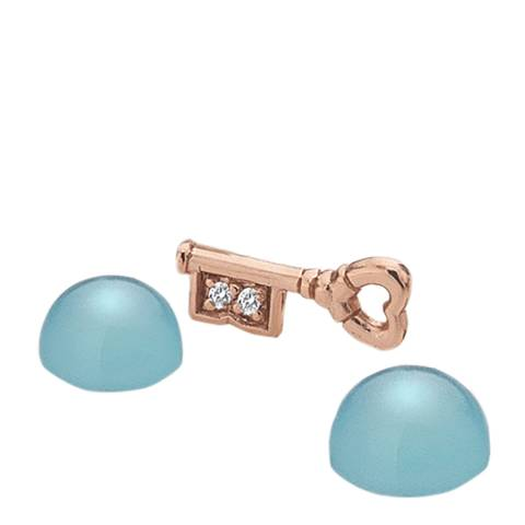 Anais Paris by Hot Diamonds Rose Gold Key Charm with Blue Agate Cabochons